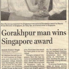 Thumbnail image for Gorakhpur man wins Singapore award